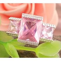 Anel Prata 925 Com Turmalina Zirconia Rosa Aro 16