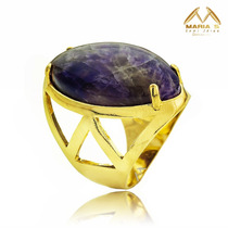 Anel Pedra Natural Ametista Folheado Ouro 18k #and002