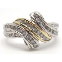 Joalheriavip Anel 39 Diamante Prata 925 Rodinada E Ouro 14k