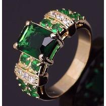 Anel Aliança Ouro 18k Esmeralda Noiva Casamento Formatura
