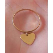 Anel De Ouro Amarelo Com Pingente De Coração