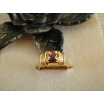 Promoção !! Anel Pedra Lilás E Rosa Aro 16 Bruna B. A Ouro