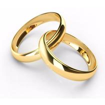 Lindo Par De Alianças Noivado Anatômicos Inox Ouro Dourada