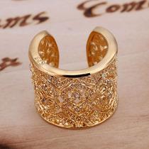 Anel Coração Zirconia Banhado Ouro, Swarovski Rommanel