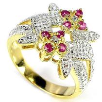 Rubi Africano E Diamante- Anel 2 Tons De Prata 925- F Grátis