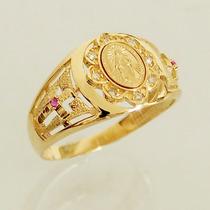 Anel Nossa Senhora Ouro 18k 750 Com Brilhantes Rubi Feminino