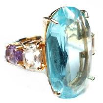 Lnc-anel Topazio Ametista Quartzo Verde Folheado Ouro 18k