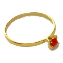 Anel Aliança Solitário Zircônia Vermelha Folheado Ouro