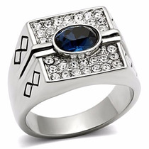 Anel Masculino Azul Safira Aço Inoxidável Luxo
