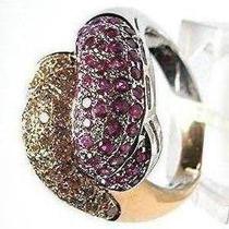 Ouro Branco E Vermelho 43 Pedras Diamantes 43 Pedras Rubi