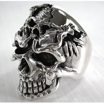 Anel Caveira Sobreposta Cranio (prata De Lei 950)