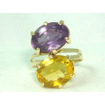 Pocao2005-anel Ouro18k 750 Ametistas Citrino Frete Grátis
