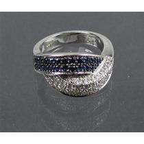 Anel Em Ouro Branco 18k/750,diamantes E Safiras!frete Grátis