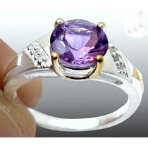 Ametista E Diamante Naturais No Anel Em Prata 925 C/ouro 14k