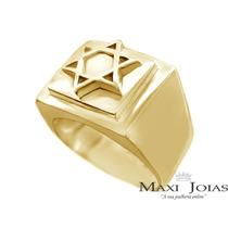 Anel Estrela De David Selo De Salomão Em Ouro 18k