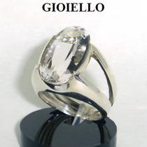 Anel Cristal Quartzo Natural Oval Prata 925 P1034