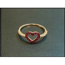Lindo Anel Coração De Rubis Em Ouro 18k Mais Diamantes