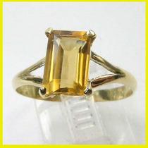 Natural Citrino Limpo Amarelo Ouro 18k Anel De Princesinha !