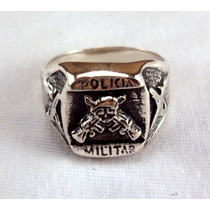 Anel Policia Militar Prata Maciça 925.