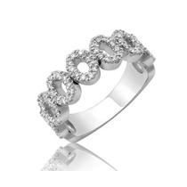Anel Em Ouro Branco 18k Com Pedras Diamantes De 1 Ponto!!