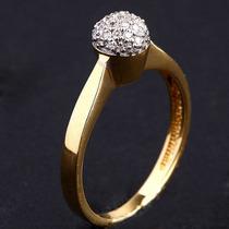 Anel Em Ouro Amarelo E Ouro Branco 18 Quilates+diamantes