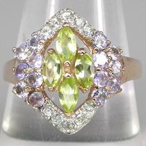 Tanzanita,peridoto,topázio,ouro Rosé-anel De Prata925-f Grát