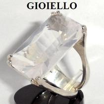 Anel Quartzo Rosa Natural Retangular Prata 925 P1239
