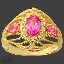 Lindo Anel De Prata 925 Com Rubi Rosa E Topázio Branco- Ouro