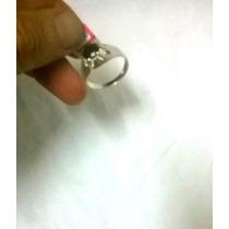 Anel De Prata Com Pedrinha Brilhante Semipreciosa 19 Mm