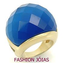 Anel Azul Aquamarine Folheado A Ouro 18k - Pedra Natural