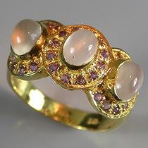 Anel De Prata 925- Ouro 14k- Ametista E Olho De Gato Lua