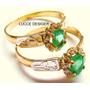 Anel Formatura Pedra Natural Esmeralda, Ouro18k,frete Gratis
