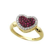 Anel Pavê Coração Em Ouro 18 Quilate Com Rubis E Diamantes