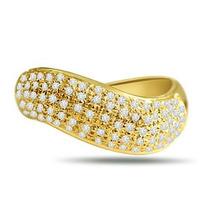 Anel Pave Curvo Ouro Amarelo Com 1 Quilate De Diamante.