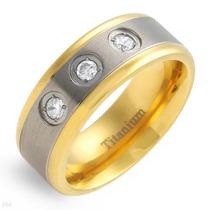 Anel Em Titaniun/ouro-zircones-14k/ti Gold Plated Titanium.
