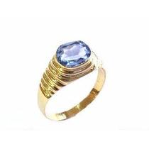 Anel Ouro 18k 750 Com Topazio Azul .