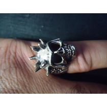 Anel Masculino Em Prata Maciça 925 - Caveira Spike
