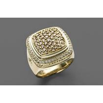 Elegante Anel Masculino Em Ouro 18 Quilate E Diamantes