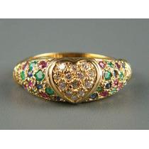 Anel Em Ouro Com Diamantes Esmeraldas Rubis E Safiras!!!