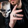 Anel Caveira Prata 925 Masculino Keith Depp Harley Punk Rock