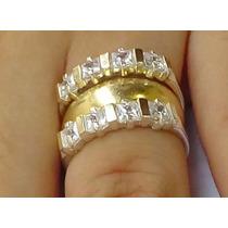 Anéis Aparadores Aliança Prata 950 Maciça Ouro 18k Zircônias