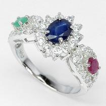 Jóias Ativ55- Safira,rubi, Esmeralda Africanos-anel Prata925