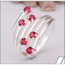 Anel Em Prata Aro 19 Com 6 Pedras De Quartzo Rosa J1597