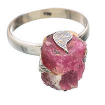 Pink Tourmaline, Turmalina Rosa 925 Plata Anel 8.75