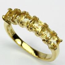 Jóias Ativ55- Citrino Natural E Ouro 14k - Anel De Prata 925