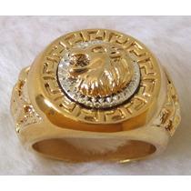 Anel Masculino Leão Em Ouro 18k Plated