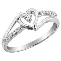 Anel De Prata E Brilhantes Diamantes
