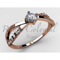 Anel Solitário Lindo Diamante 10 Pontos E. 14 Diamantes.