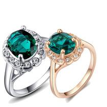 Anel Banhado Ouro Platina Cristal Austríaco Verde Esmeralda
