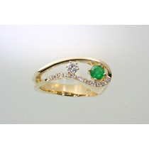 Anel Ouro Amarelo18k Diamantes E Esmeralda.